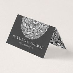 Shop Black and White Floral Mandala Business Card created by ZyddArt. Elegant Business Cards, Business Card Design, Print Templates, Card Templates, Print Design, Graphic Design, Folded Cards, Mandala Design, Paper Texture