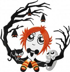 tattoo idea for my foot. I Love the branches and bats but everything else can go....  #Ruby Gloom #Doom Kitty #boo #bats