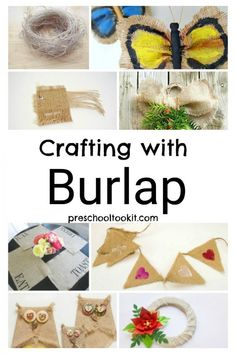 Easy Burlap Crafts for the Whole Family - Fisch Krafts Ideen Burlap Owl, Burlap Bunting, Burlap Crafts, Wreath Crafts, Burlap Fabric, Toilet Paper Roll Crafts, Easy Paper Crafts, Paper Plate Crafts, Fun Crafts