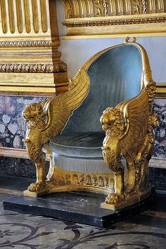 Throne, Throne Room, Royal Palace, Caserta. love the gold detailing on this throne.