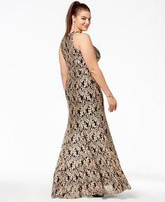 3684632c7162a Morgan & Company Trendy Plus Size Metallic Lace Halter Gown - Dresses - Plus  Sizes