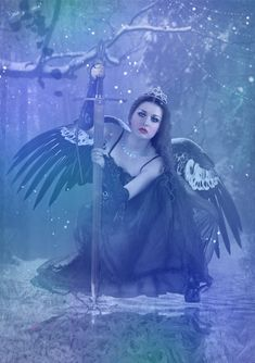 Fight for your Dreams by DeadLulu.deviantart.com   {black wings and a sword she could be the Goddess Morrighan )O(   }