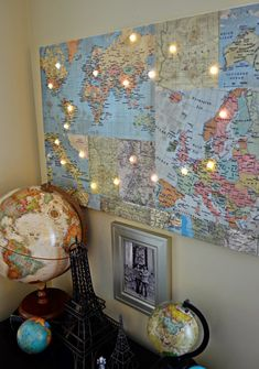 Hazel and Ruby: World Map Wall Art - Wall Decor - The Makery World Map Wall Art, Wall Maps, Led Pin, Art Deco, Home Office Decor, Home Decor, Office Ideas, Do It Yourself Home, Light Decorations