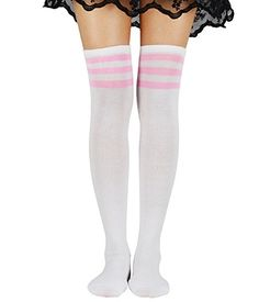 43e65e6100f American Trends 1-3 Pairs High Socks Over the Knee Thin Cosplay Stockings  Triple Stripes