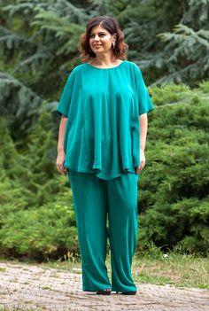 Bluza larga verde SNK PLUS 04 - AMA Fashion Jumpsuit, Plus Size, Dresses, Fashion, Pants, Green, Overalls, Vestidos, Moda
