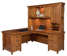 Amish Boston Mission L Desk with Optional Hutch Topper An L desk offers maximum space to work. This desk is available with or without the hutch top. Amish made in Indiana with the wood, finish, hardware and features you select.
