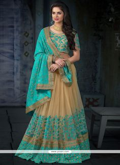 Tempting Turquoise Embroidered Work Designer Half N Half Saree Model: YOSAR11684
