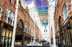 The stunning Victoria Quarter shopping centre, home to the largest stained glass window in Britain!