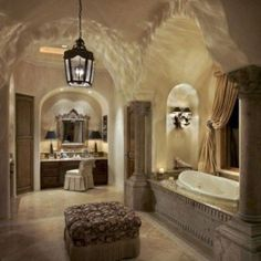 Tuscan bathroom design is said to be a perfect combination of sheer indulgence and timeless beauty. Tuscan Bathroom Decor, Bathroom Interior, Bathroom Ideas, Bathroom Designs, Bathroom Furniture, Dream Bathrooms, Beautiful Bathrooms, Luxury Bathrooms, Mold In Bathroom