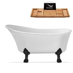 Barclay Products 5.6 ft. Acrylic Ball and Claw Feet Slipper Tub in White with Oil Rubbed Bronze Accessories-TKADTS67-WORB4 - The Home Depot Clawfoot Tub Bathroom, Bathroom Doors, Master Bathroom, Farmhouse Bathroom Accessories, Black Tub, Soaking Bathtubs, Classic Bathroom, Whirlpool Bathtub, Shower Tub