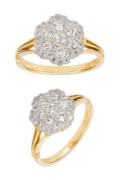 This Edwardian style diamond cluster ring is set with 0.55 carat of diamonds. The seven central diamonds are surrounded by 24 smaller diamonds. The fine details and craftsmanship make this ring a pleasure to wear. The diamonds are set in platinum. The yellow gold band has split shoulders with millegrain and shaped edges in the vintage style. #clusterengagementring #diamondring #diamondengagementring #edwardianringdesign #vintageringdesign Victorian Engagement Rings, Diamond Cluster Engagement Ring, Edwardian Style, Edwardian Fashion, Vintage Rings, Vintage Style, Gold Bands, Ring Designs, Diamonds