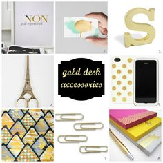 Gold desk accessories