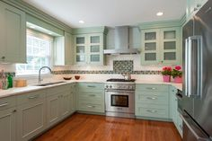 Beautiful Townhouse kitchen in Olney, Maryland, Designed by Kitchen Elements, Light Green Cabinets,