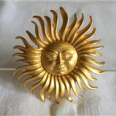 Large Monet Sun Brooch Stunning Large Smile Signed Vintage 1970's 70's... ($17) ❤ liked on Polyvore featuring jewelry and brooches