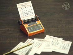 DIY Printable Paper Typewriter Calendars