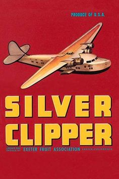 A famous airplane, the China Clipper, adorns this crate label. It does not…