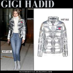 Gigi Hadid in metallic silver puffer down jacket, skinny jeans and grey ankle boots model style