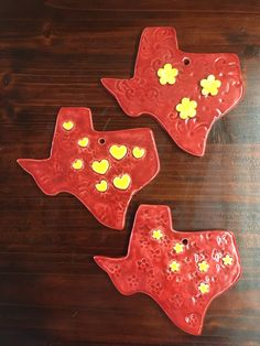 A personal favorite from my Etsy shop https://www.etsy.com/listing/483901617/red-and-yellow-texas-wall-decor
