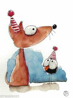 ACEO Original Painting Folk Art Illustration Whimsical Party Animals Crow Dog | eBay