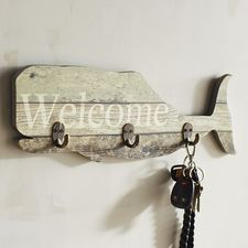 It's all aboard with our welcoming whale. Made from wood planks that look like they were salvaged from an old ship's deck, it has a weathered white finish and comes equipped with iron hooks that are ready to hang anything your crew might need. Home Wall Decor, Beach House Decor, Seaside Theme, Things I Need To Buy, San Diego Living, Happy House, Colorful Animals, Unique Wall Art, Wood Planks