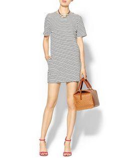 Basic stripe shift dress with pockets