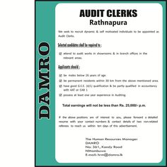 We seek candidate for Audit Clerks position. You need have good GCE (A/L) qualification. Accounting Jobs, The Selection, It Works, Career, Self, Positivity, Motivation, Carrera, Nailed It