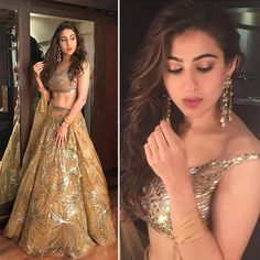 Sara Ali Khan looked ravishing in the gold lehenga that she wore to SRK's Diwali Party by the designer duo Abu Jani Sandeep Khosla. This is perfect to be worn on your loved one's sangeet ceremony. Indian Wedding Wear, Indian Bridal Outfits, Indian Designer Outfits, Bridal Dresses, Lehenga Designs, Lehenga Hairstyles, Mehndi Hairstyles, Diwali Outfits, Lehnga Dress