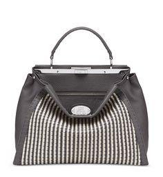 321dbdc33f PEEKABOOHandstitched asphalt grey Selleria Peekaboo 1584 handbag in soft  Cuoio Romano calfskin with woven nappa leather · Fall Winter 2014Timeless  ...