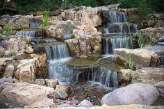 43 Stunning Garden Pond Waterfall Design Ideas - Home/Decor/Diy/Design Outdoor Ponds, Ponds Backyard, Backyard Waterfalls, Outdoor Fountains, Garden Ponds, Water Fountains, Outdoor Water Features, Water Features In The Garden, Garden Waterfall