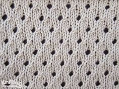 Staggered Eyelet knitting stitch pattern | written and video instruction | knittingstitchpatterns.com