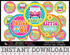 Hippie Chick  INSTANT DOWNLOAD 1 Bottle Cap Images by PinkLimeadeD