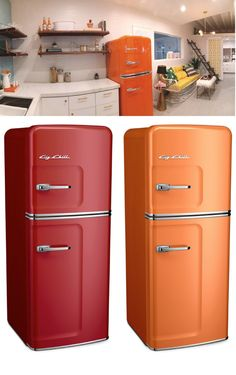 Featuring: The Big Chill Slim Refrigerator - Refrigerator - Trending Refrigerator for sales. - Designing the kitchen of your dreams? The Big Chill Slim Refrigerator comes in over 200 custom color options alongside many of our other classic appliances. Retro Refrigerator, Kitchen Views, Vintage Appliances, Big Chill, Cottage Kitchens, Tiny Spaces, Kitchen Accessories, Dreams, Slim