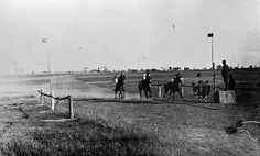 """Horse racing at Willaura, c. 1925.The lads have  a good view at the finish post. I found a report in The Australasian of 17/10/1925 about the Willaura Race Club -  """"The balance sheet presented at the annual meeting of the Willaura Racing Club showed a credit balance of £144. The following officers were elected:--President,Mr. T. M. Slattery; secretary, Mr. H. J Taylor; assistant secretary, Mr. W. T. Hargreaves. The club has secured a lease for 10 years of a new racecourse on Mr.A. C…"""