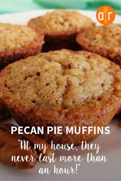 Pecan Pie Muffins - - It's hard to believe there are only five ingredients in these wonderful little muffins! The brown sugar makes them taste like pecan pie. Pecan Recipes, Sweet Recipes, Baking Recipes, Cookie Recipes, Brunch Recipes, Dessert Recipes, Healthy Recipes, Pecan Pie Muffins, Pecan Pies