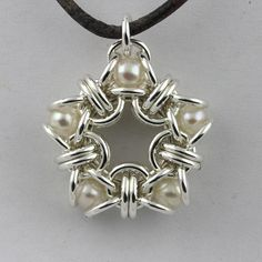 Pearl Star Chainmaille Pendant. Craft ideas 5479 - LC.Pandahall.com