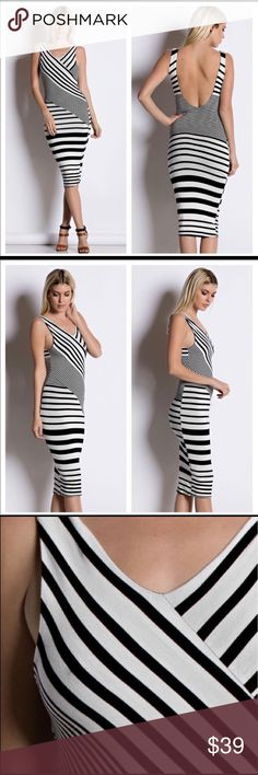 Black / White Midi Date Night Dress S,M,L This Black /White Midi date night dress has an amazing body hugging fitted look. This dress has a black lining so the dress will not be see through. The dress  has a low cut back. It is a mid length dress. The dress is 95% Rayon and 5% Spandex. Made in U.S.A. October Love Dresses Midi