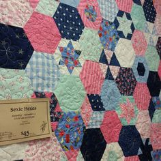"""A little bit of eye candy for you, the """"Sexie Hexie"""" quilt was designed & pieced by Emily Herrick @crazyoldladies. She will be teaching her technique for making this fun quilt here at the shop Saturday, November 12th, 10 a.m. - 5 p.m. $45 class fee. Sign up now at the shop, over the phone or on our website. Patterns & kits available!"""