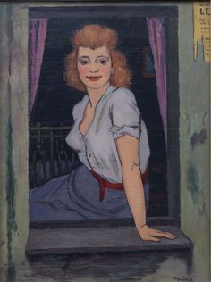 A Woman of Pleasure seated in her Window by Clifford Hall: painted circa 1959/60. Oil on board.