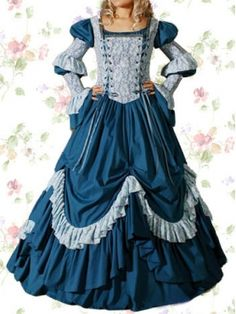 Blue Lycra Classic Lolita Dress