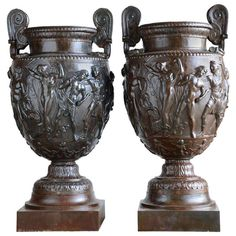 Cast Iron Vases After The Townley's Vase - 19th Century - France