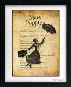 Mary Poppins Song Lyrics Art Book Print - A3 or A4 Large Vintage Page Effect Wall Quote.. £13.99, via Etsy.