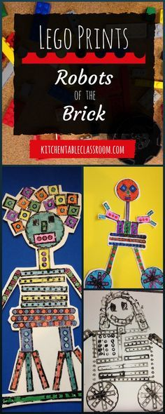 Lego prints are a natural since the famous bricks come in so many shapes and sizes! Just head over to the Lego bin, grab some black paint, and get busy! Kindergarten Art, Preschool Art, Arte Elemental, Arte Robot, Lego Robot, Lego Craft, Craft Art, First Grade Art, Ecole Art