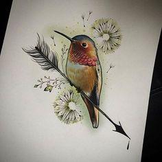 Hummingbird on an arrow - Elapour tattoo bird hummingbirdtattoo birdtattoo kolibrie
