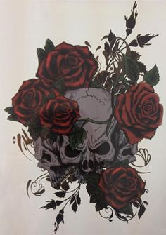 [Visit to Buy] NEW TATTOO Three Skull And Rose Temporary Tattoo Stickers#16 #Advertisement