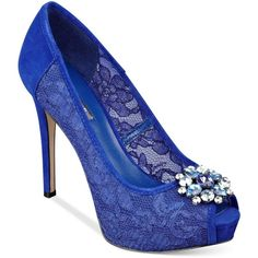 Guess Women's Hotspot Platform Dress Pumps ($28) ❤ liked on Polyvore featuring shoes, pumps, heels, blue, platform heels pumps, dress pump, blue shoes, blue evening shoes and blue pumps