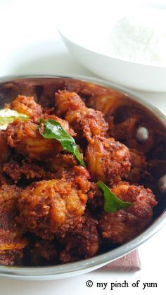 """""""Prawns Sukka"""" is a popular, coastal seafood delicacy from Mangalore. It is also known as Yetti Ajadina in Tulu. Its an absolute favourite of the people of Mangalore (sout… veg recipes Vegetarian Crockpot Recipes, Veg Recipes, Curry Recipes, Seafood Recipes, Asian Recipes, Cooking Recipes, Pakora Recipes, Simple Recipes, Crawfish Recipes"""