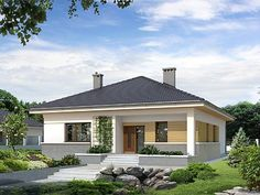 Bungalow Haus Design, Modern Bungalow House, Bungalow House Plans, House Design, One Level House Plans, Small House Floor Plans, Barn House Plans, Style At Home, One Storey House