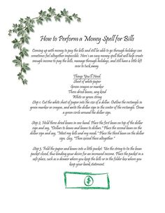 Money Spell for Bills
