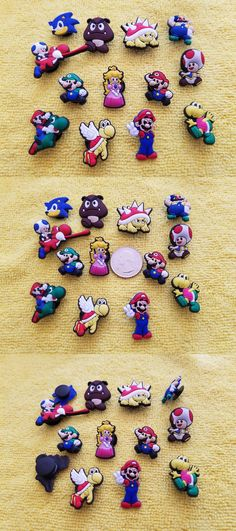 8101bd176ed9f0 Shoe Charms 150956  Super Mario Bros W Sonic Shoe Charms Cake Toppers!! Lot