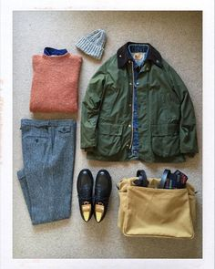 Thornproof — thedailyobsessionsme: Today's Outfit. Looks Style, Casual Looks, Smart Casual, Mature Mens Fashion, Barbour Jacket, Herren Outfit, Moda Casual, Outfit Grid, Men Looks